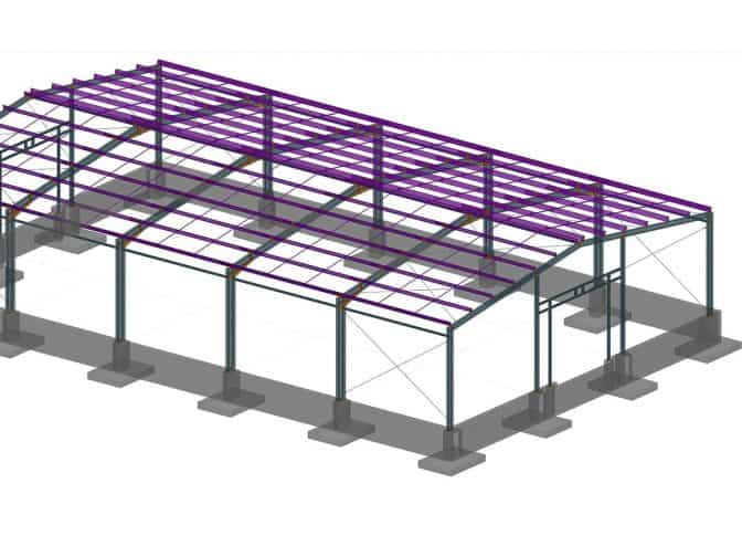 model hali stalowej z advance steel
