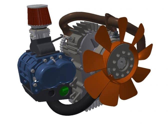 zaawansowany model silnika wykonany w inventor