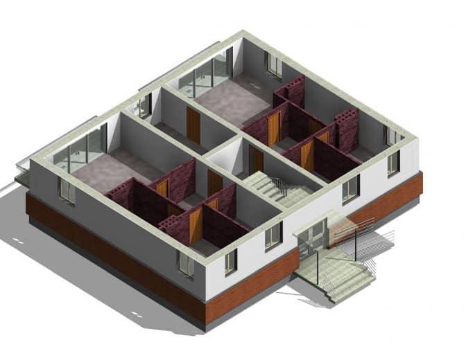 model 3d budynku wykonany w programie revit
